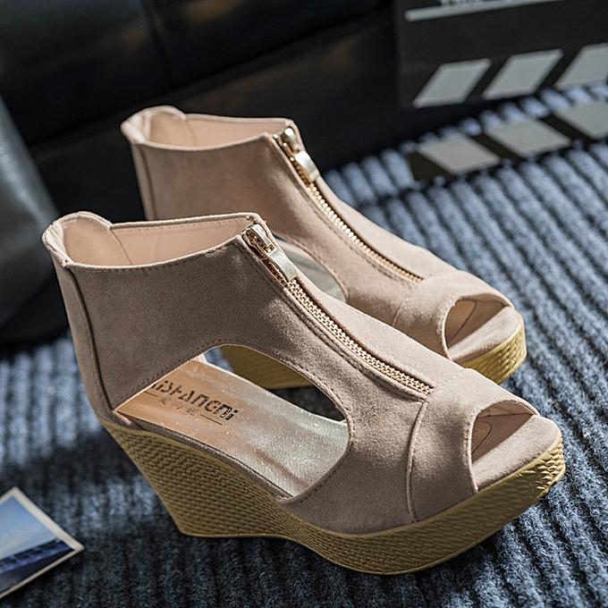 175492daf70b hiamok Women Shoes Summer Sandals Casual Peep Toe Platform Wedges Sandals  Shoes KH 36