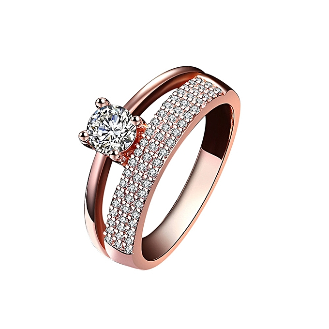 5b83d754763 Generic Women Fashion Zircon Rose Gold Diamond Cylindrical Rings ...