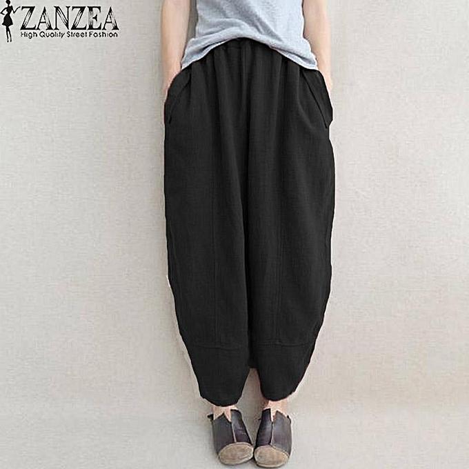ZANZEA Fashion Long Trouser Pockets Elastic Waist Cotton Linen Baggy Loose  Harem Pants Women Spring Stylish b392781c76a1