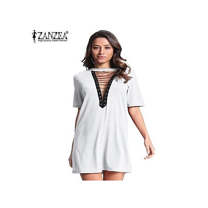 c088e34e1d0 ZANZEA Women Short Sleeve Deep V Plunge Low Cut Cluwear Long Shirt Mini  Dress (Off