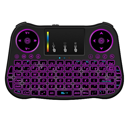 2 4GHz Wireless Backlit Touchpad Keyboard Air Mouse - Black