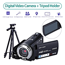 LEBAIQI Ordro V12 Digital Camera Camcorder 3 inch LCD 1080P FHD 16x Zoom Night Vision CMOS Sensor+Tripod