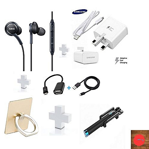GIFT PACK -Samsung S8 AKG Earphones plus free charger,selfie stick,phone ring,OTG and USB cables.