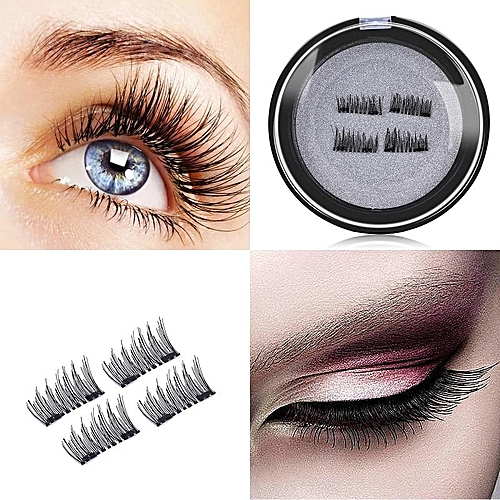 d4bbf011b1e Generic 4Pcs/2 Pairs Double Magnet 3D Magnetic False Eyelashes Full Strip Magnetic  Eyelash Lashes Black Soft Hair Reusable Fake Eye Lashes Extension