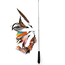 Katten Speelgoed Funny Set Fishing Rod Retractable Feathers Make 5 Replaced Heads Set Feather Cat Pole Toys Sets