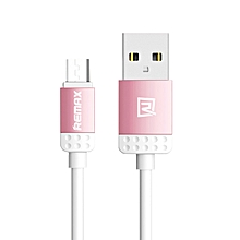 RC-010M Lovely Quick Charge & Data Micro USB Cable for Samsung/Asus/HTC/Lenovo/Sony/Oppo/XiaoMi etc - Pink DIOKKC