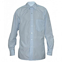 Pale Blue Mens Long Sleeved Checked Shirts