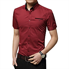 New Men's Slim Short Sleeve Shirt Business Formal Casual Plain Top T Shirts-Red