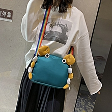 Solid Color One Shoulder Slung Mobile Handbag Cute Crab Pattern Handbag (Blue)