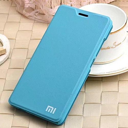 save off 63b74 55b84 MI LOGO Leather Flip Cover Case For Xiaomi Redmi 5 Plus
