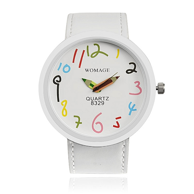 Nice New Simple Design Large Dial Cute Student Ladies Watch White