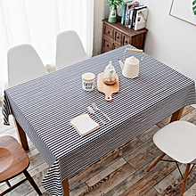 Cotton and Linen Simple Pastoral Tablecloth Geometric Tectangular Table Cover with Color Stripes 140*140cm