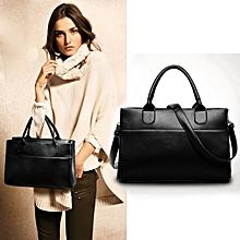 bluerdream-New Women Genuine Leather Handbag Shoulder Bag Large Tote Satchel- Black