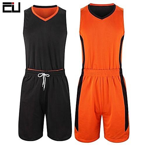 cdb4d8db9481 Eufy Double Size Customized Brand Men s Basketball Team Sport Jersey Set-Orange  Black(2093)