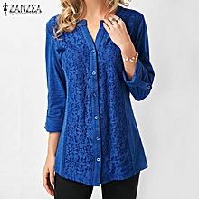 ZANZEA Women Plus Size Button Down Shirt Floral Lace Top Loose Tunic Blouse