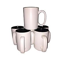 Coffee Tea Mug - Set of 6 - Large - White & Black