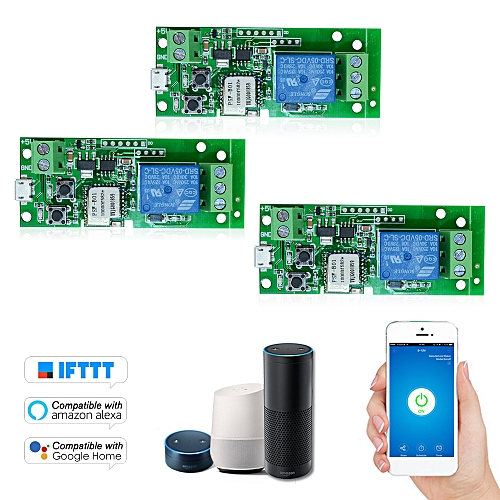 3PCS USB DC5V Wifi Switch Compatible with Sonoff Wireless Relay Module  Smart Home Automation Modules Phone APP Remote Control Timer Switch Alexa