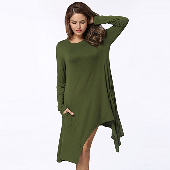 20d6feda016e8 Autumn Women Summer Dress O-Neck Long Sleeves Solid Loose Asymmetrical Flowy  Swing Casual T