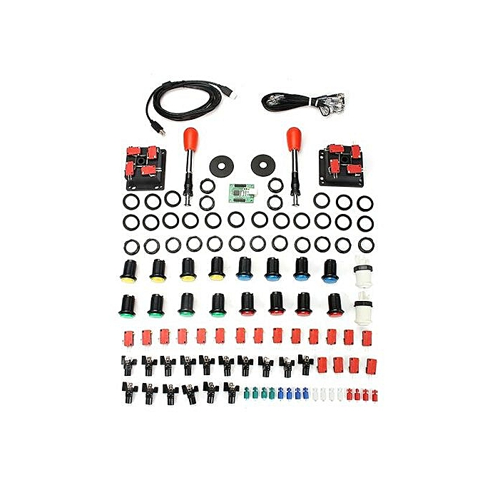 Arcade Parts Bundles Kit with Spainish Red Joystick Push Button Micro  Switch 2 Player USB Board