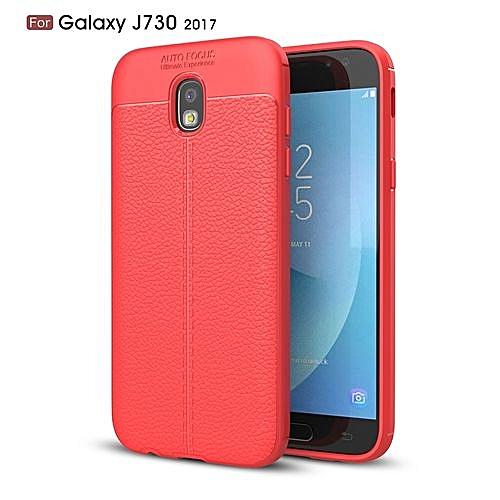 quality design 1605b aea93 Samsung Galaxy J7 Pro 2017/J730 2017 Silicone Case Litchi Pattern TPU  Anti-knock Phone Cover - Red