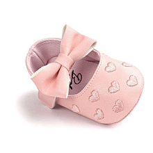 Infants Girls Bow Leather Shoes -Pink