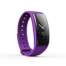 "QS90 - 0.96"" Smart Wristband Touch Andriod/IOS 70mah Bracelet Heart Rate Monitor Pedometer - Deep Purple"