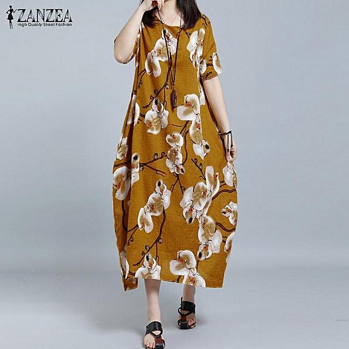 b813d2fd0064 ZANZEA Women O-Neck Short Sleeve Casual Loose Shirt Dress Retro Floral  Print Long Dress