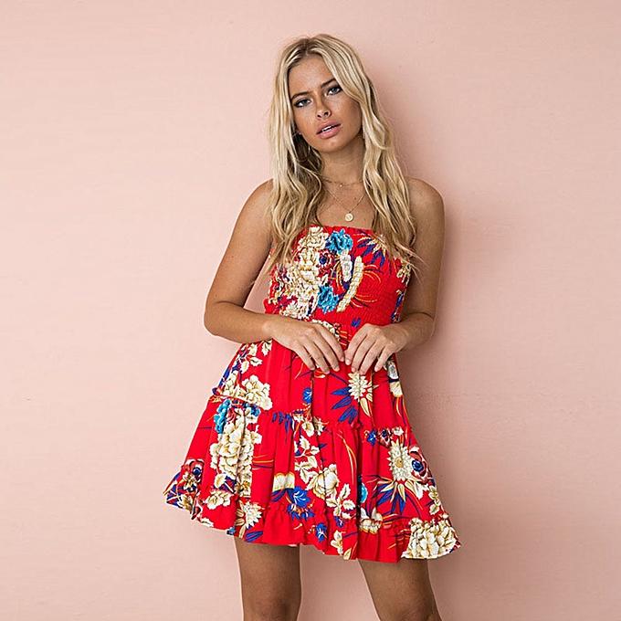 25d4c1a36e4 Sexy Women Strapless Floral Lemon Print Sundress Ruched Ruffle Summer Beach  Mini Swing Dress