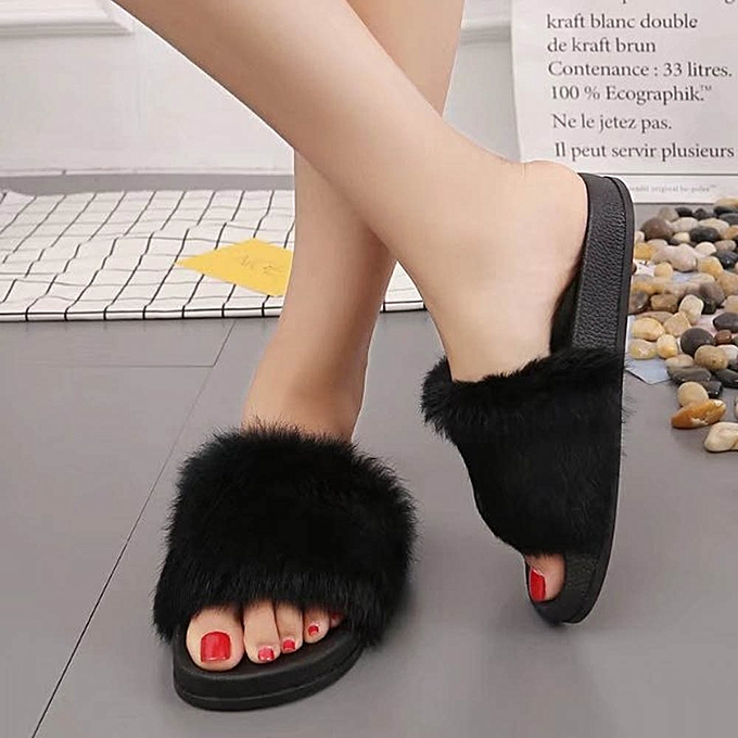 6681a082b Fashion Hiamok Womens Flat Non-slip Soft Fluffy Faux Fur Flat Slipper Flip  Flop Sandal BK 37