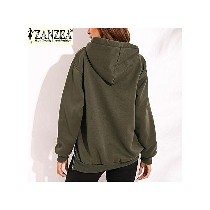 e0b4246aca7 ... ZANZEA Trendy Women Casual Hoodies Sweatshirts Hoody Pullover Leisure  2017 Autumn Long Sleeve Hem Split Solid ...