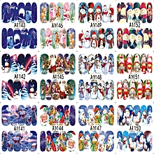 12Patterns Water Decals Nail Art Transfer Stickers Big Sheet Manicure Decoration