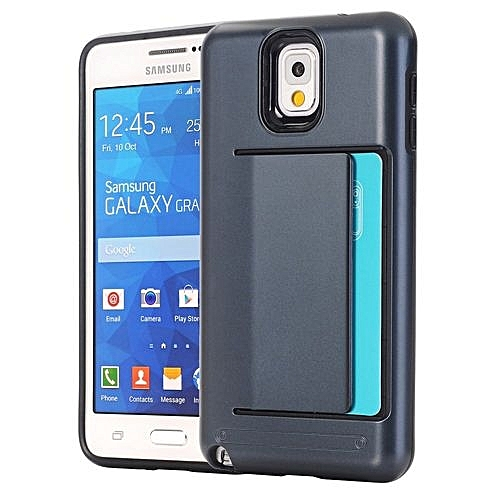 finest selection 78106 92ec3 RUILEAN Case For Samsung Galaxy Grand Prime G530 Dual Layer TPU  +PCShock-absorbing Card Slot Protective Cover Dark Blue