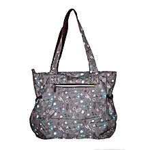 Waterproof Grey With Pink Urban Print Diaper Bag And A Pouch