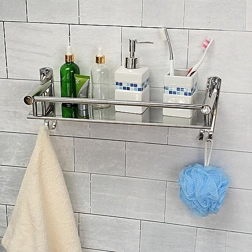 Tapcet 50cm Wall Mount Stainless Steel Single Tier Storage Basket Bathroom Soap Dish Shampoo Rack
