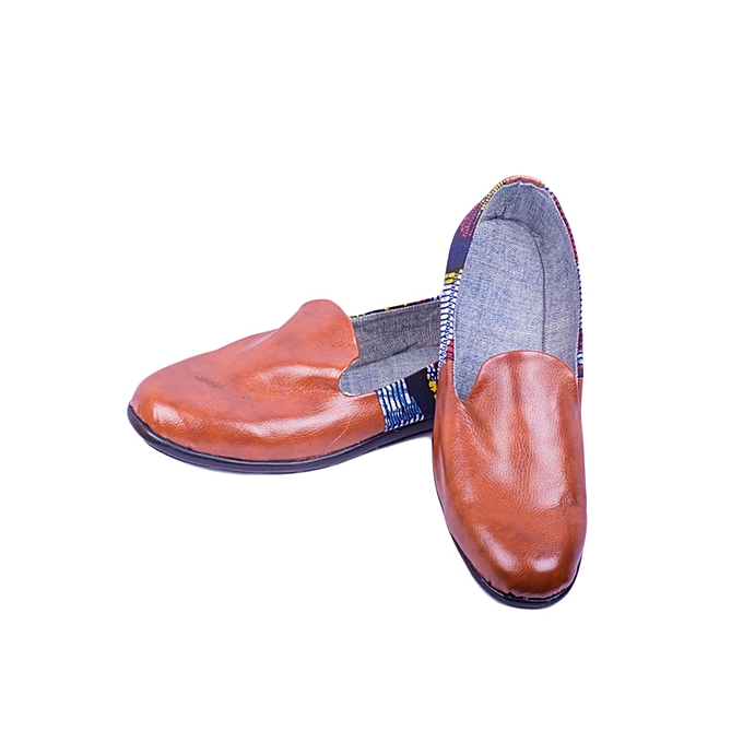 fa98e9167 Generic Brown Leather With Ankara Print Slip-On Men s Shoes   Best ...