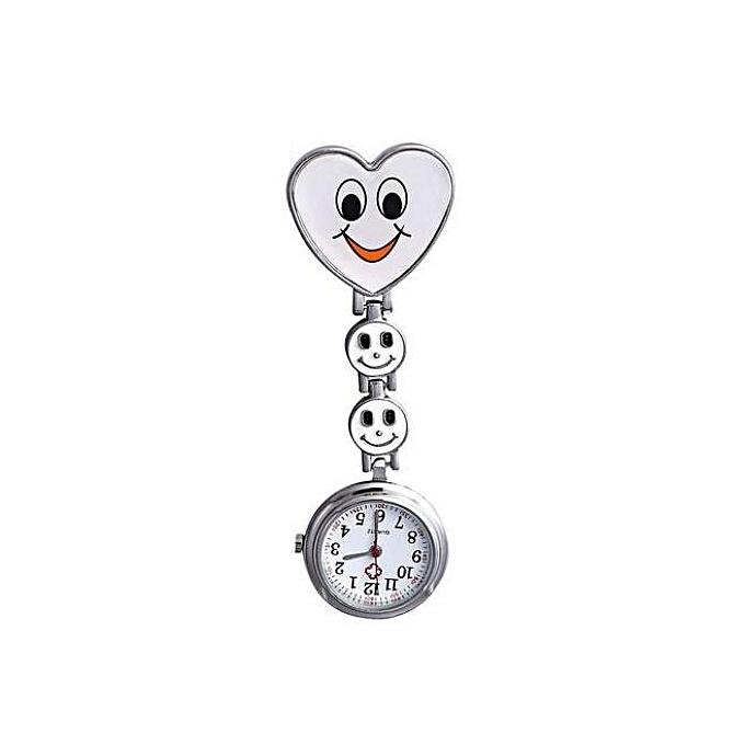 Women s Smiling Face Heart Clip-On Pendant Nurse Brooch Pocket Watch ... 0724a7f6ac