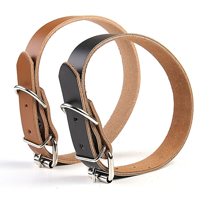 ... New 2.3 X 53cm 2Colors Cattle Leather Puppy Choker Dog Pet Cat Puppy Collar Neck Buckle ...