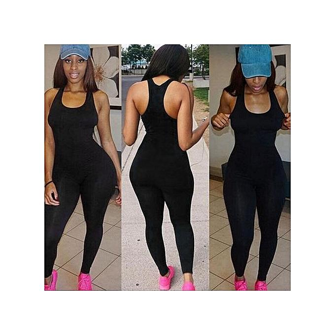 78ebd91506e5 Hiaojbk Store Women Casual Sleeveless Bodycon Romper Jumpsuit Club Bodysuit  Long Pants BK L-Black ...