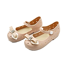 Children Shoes Bowknot Style Cute And Sweet Buckle Strap Closure Round Toe-Khaki