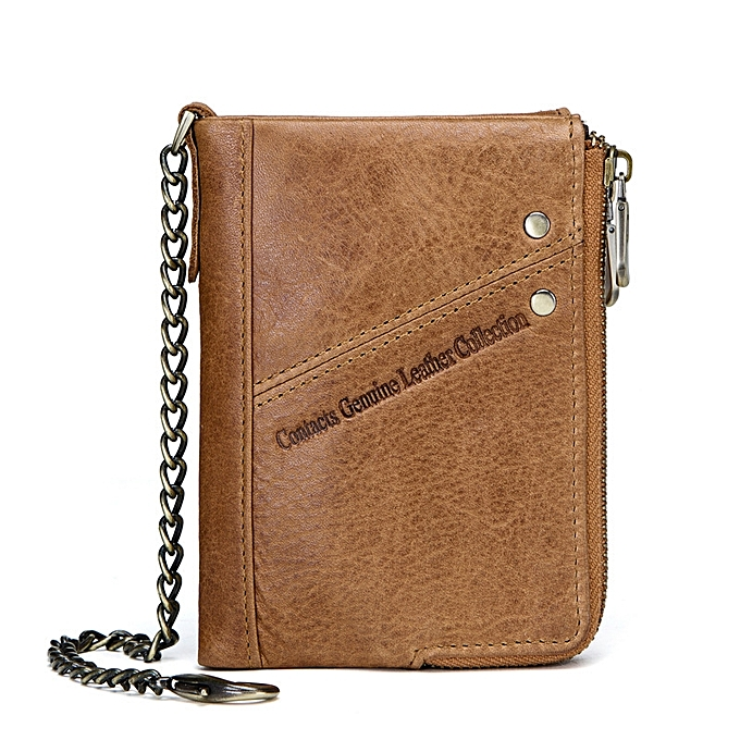 fd1cc0b948 New casual leather men s wallet FRID multi-function double zipper top layer  leather coin purse