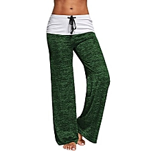 Women Heather Wide Leg Pants - Green