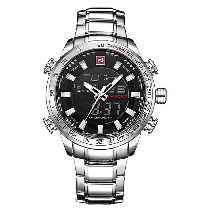 fa352a8491a Men s NAVIFORCE Luxury Brand Sport Watches Men Dual Display LED Digital  Waterproof Full Steel Quartz Watch