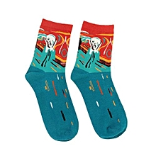 Adult Men Women Fashion Hosiery Comfortable Cotton Socks With Abstract Painting Color:Green Cry Size:f