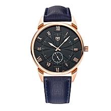 451 Men Fashion Business PU Leather Band Quartz Wrist Watch, Luminous Points, Black Dial(Blue)