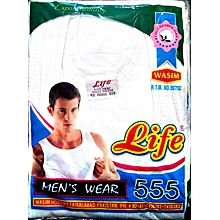 Men Vest Undergarment Shirt - White -  Cotton 100%