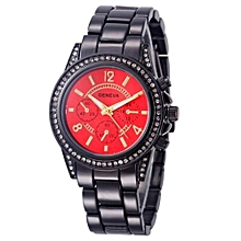 Fohting Geneva Faux Chronograph Quartz Classic Round Ladies Women Crystals Watch Black - Black