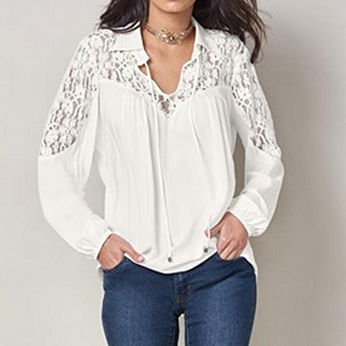 a5cb768c8679 ZANZEA Button Down Shirt Women V Neck Long Sleeve Tops Lace Patchwork Tie  Blouse Off White