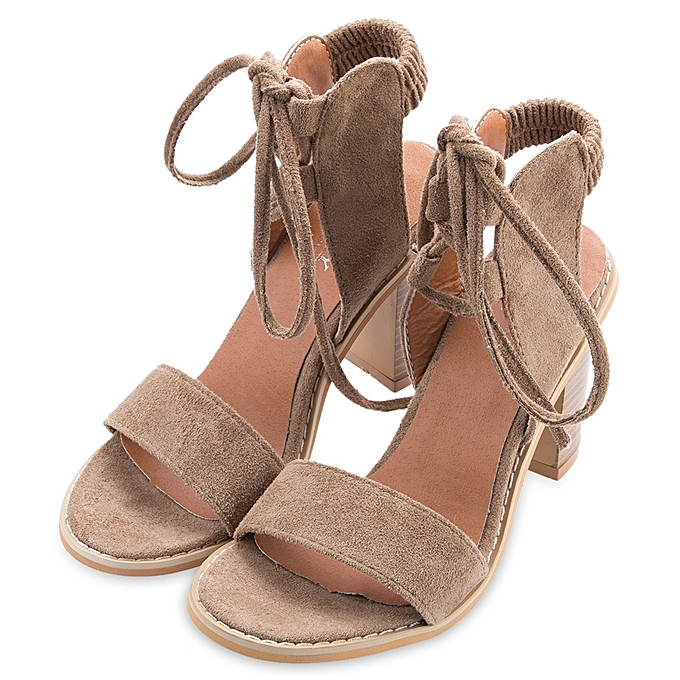 015f178e126 Fashion Ladies Lace Up Open Toe Thick Heel Sandals-CAMEL   Best ...