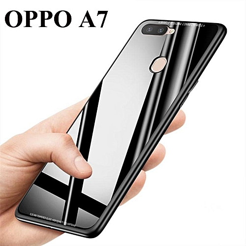 buy popular 2406d fb9b9 Hard Tempered Glass Back Cover For OPPO A7 Phone Casing (Black)