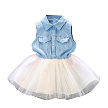 Toddler Baby Kid Girl Princess Party Clothes Denim Sleeveless Tulle Tutu Dresses